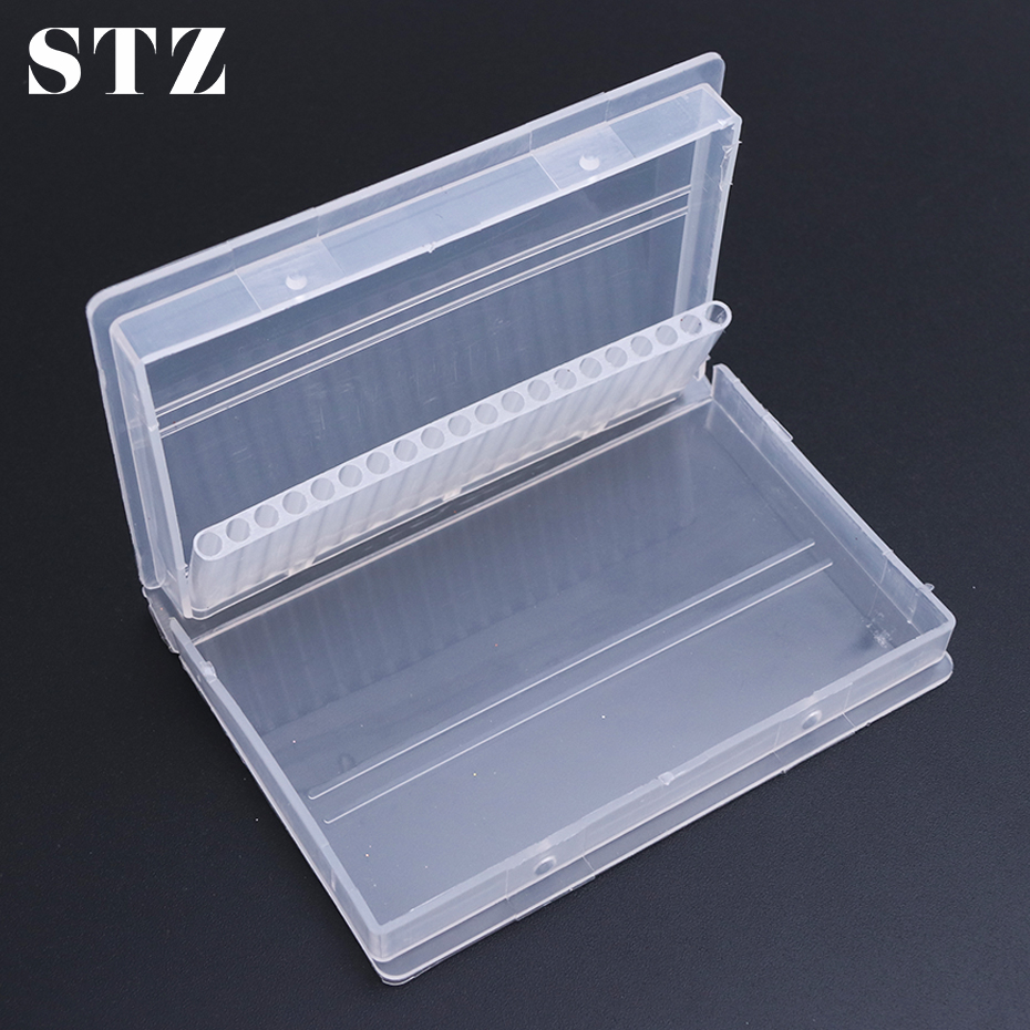 STZ 20 Slots Acrylic Nail Drill Bit Storage Box Empty Case Stand Display Container Milling Cutter Holder Nail Tool Manicure A35