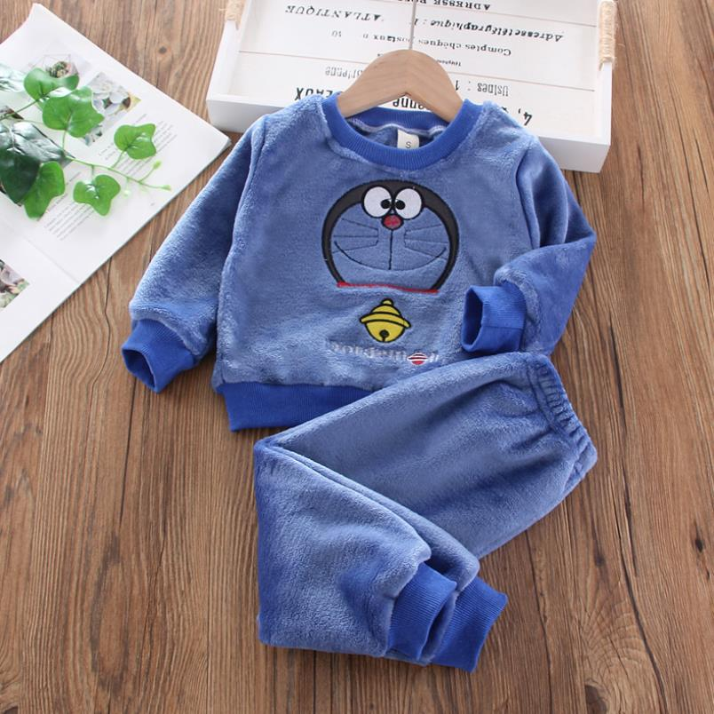 New Autumn Winter Baby Clothes Pajamas Sets Girls Pajamas Children Warm Flannel Fleece Catoon Bear Kids Sleepwear Home Suit 1-6Y 3