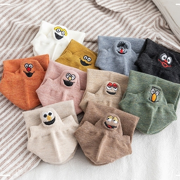 1 Pair of Shallow Mouth Korean Japanese Smiling Face Socks Embroidered Funny Couple Ship Men and Women - discount item  60% OFF Men's Socks
