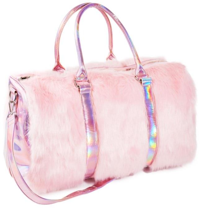 Новые Мягкие радужные сумочки из искусственного меха, женские сумки-тоут, большая емкость, лазерная симфония, розовые сумки на плечо, Бостон...