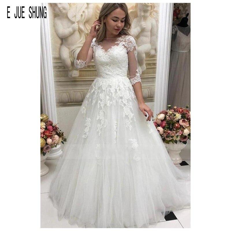 E JUE SHUNG Illusion Half Sleeves Wedding Dresses Boat Neck Button Back Lace Appliques Wedding Bridal Gowns Vestido De Noiva