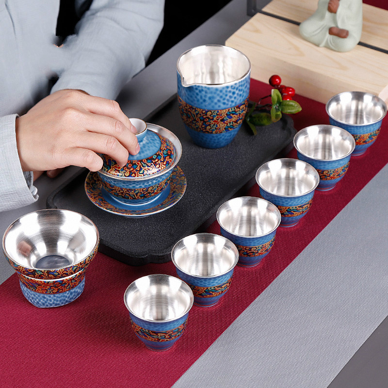 Porcelain Silver Tea Set Cover Bowl Set Kung Fu Tea Set Sterling Silver Tea Cup Ceramic 6 Gifts
