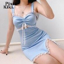 PixieKiki Kawaii детские синий летнее платье Милое сексуальное Косплей выдалбливают шнурок кружевной отделкой Разделение облегающее Мини-платья ...