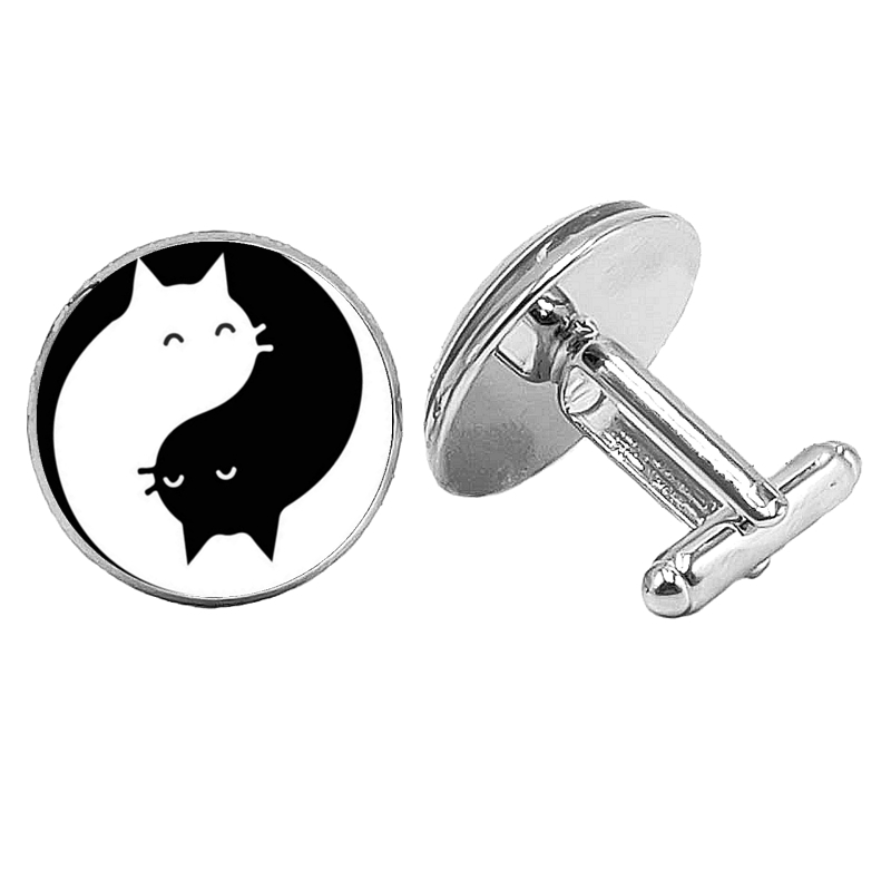 2019 Super New Yin and Yang Black and White Cat Badge Cufflinks Glass Convex Round Silver Cufflinks Men 39 s Gift Jewelry Jewelry in Tie Clips amp Cufflinks from Jewelry amp Accessories