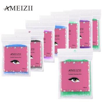 100PCS Disposable Eyelash Brushes Swab Grafting Eyelashes Cotton Make Up Tools Disposable Remove Cotton Swab Stick TSLM1