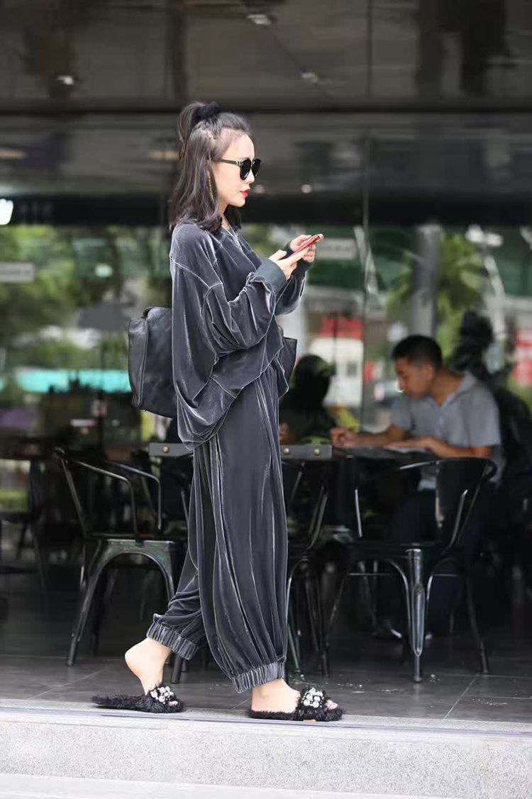 Women's Sets Velvet Batwing Sleeve Woman Tops With Wide Leg Pants Two Piece Set Plus Size Women Sets Clothes Autumn 2019