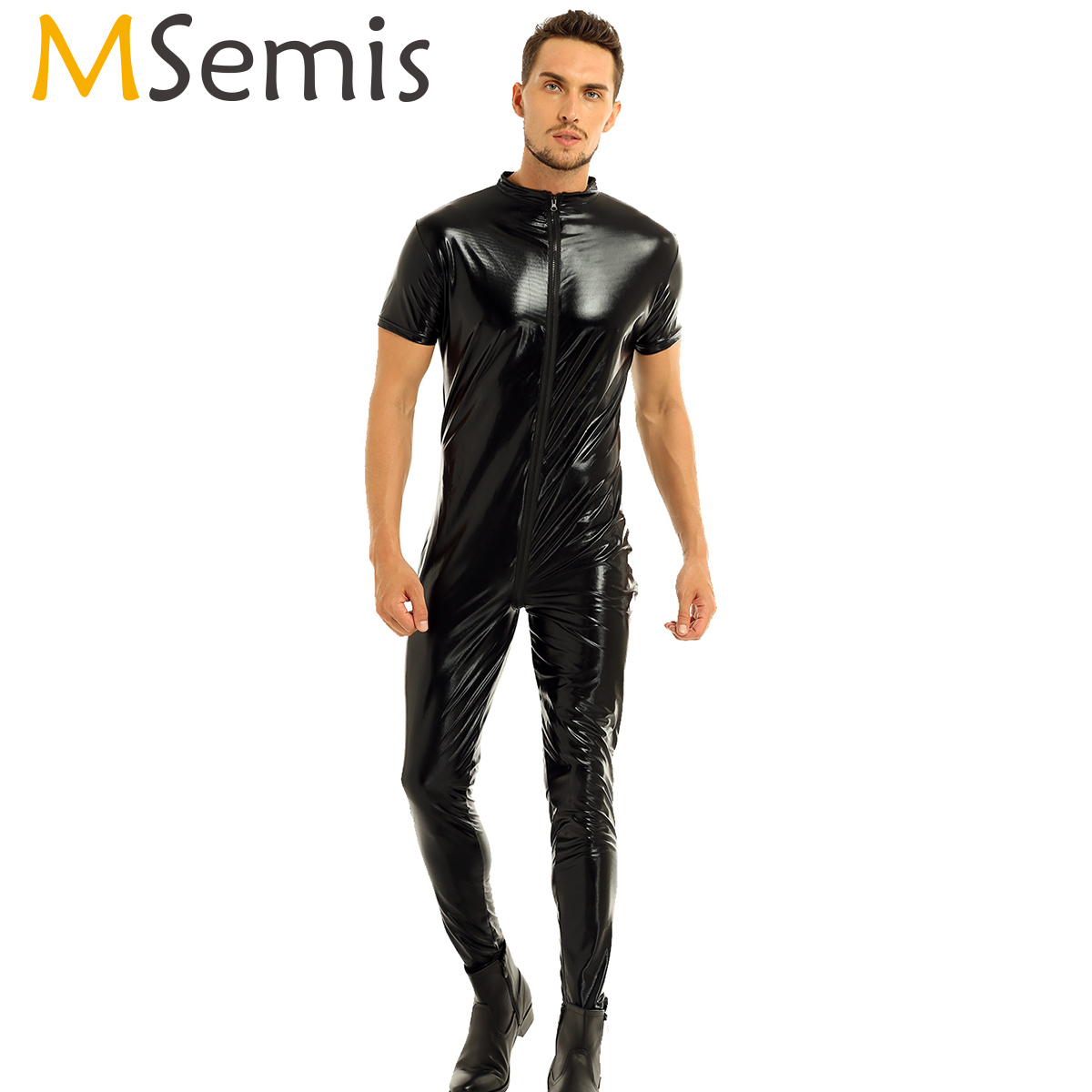 Mens Body Suit Thong Leotard Bodystocking Faux Leather Bodysuit Short Sleeves Zipper -1887