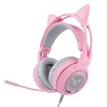 SOMIC G951 핑크 게임용 헤드폰 가상 7.1 서라운드 사운드 고양이 귀 헤드셋 소음 제거 유선 헤드셋 (소녀 용 마이크 포함)