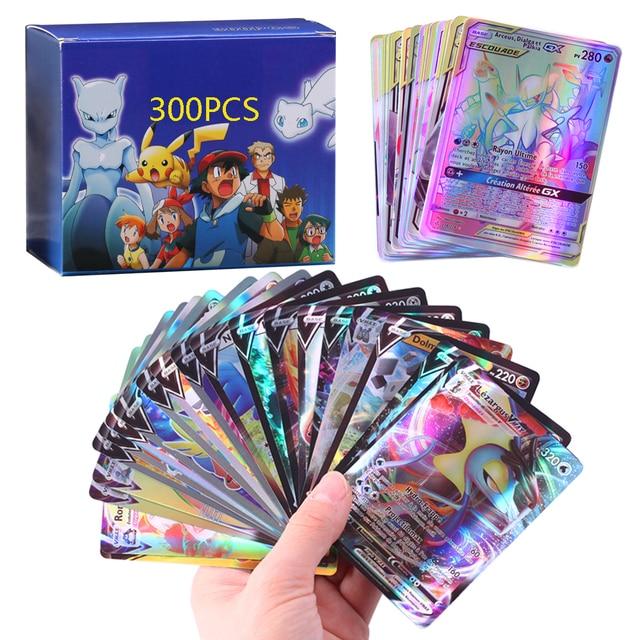 20-300 PCS New French/English Version Pokemones Card GX V Vmax Tag Team Ex Mega Shiny Cards
