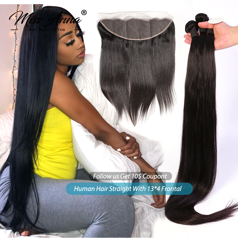 MissAnna Peruvian Human Hair Straight Bundles With Frontal And Closure Remy Human Hair Weave Bundles With 13x4 Lace Frontal