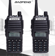 2 Pcs Baofeng 8W UV-82 Walkie Talkie Dual PTT UV 82 Portable Two way Radio VHF UHF Ham CB Station UV82 Hunting Transceiver