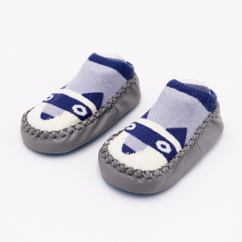 Г. Модные детские носочки с резиновой подошвой, носки для младенцев осенне-зимние детские носки-тапочки для новорожденных нескользящие носки с мягкой подошвой - Цвет: Gray puppy