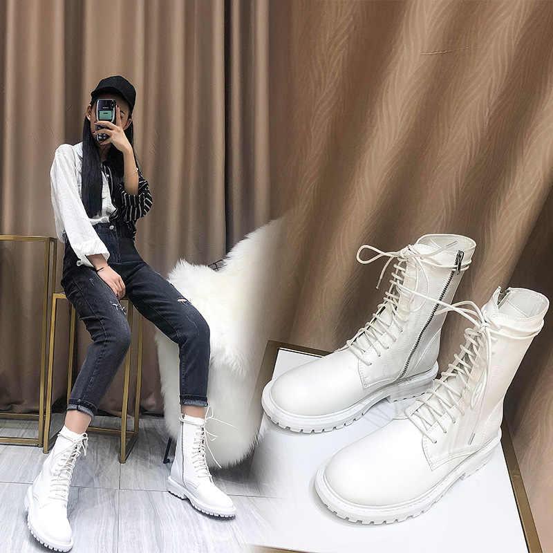Botas mujer 2019 zapatos blancos informales botas Martin de