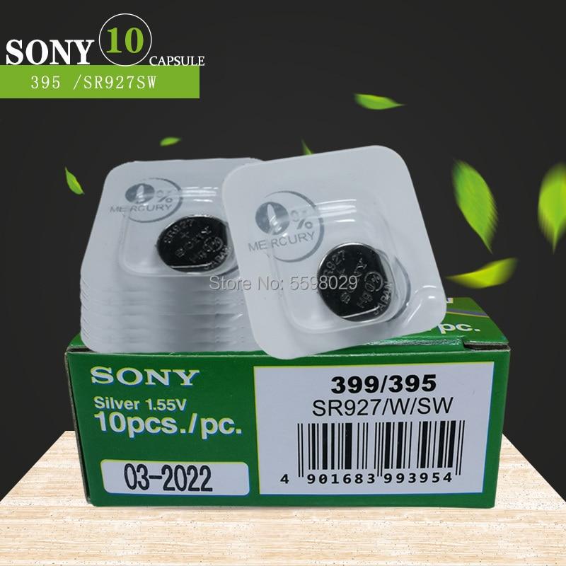 10pcs Original Sony 1.5V 395 SR927SW 399 SR927W LR927 LR927W SP395 SR927 610 AG7 Single Grain Packing Watch Battery