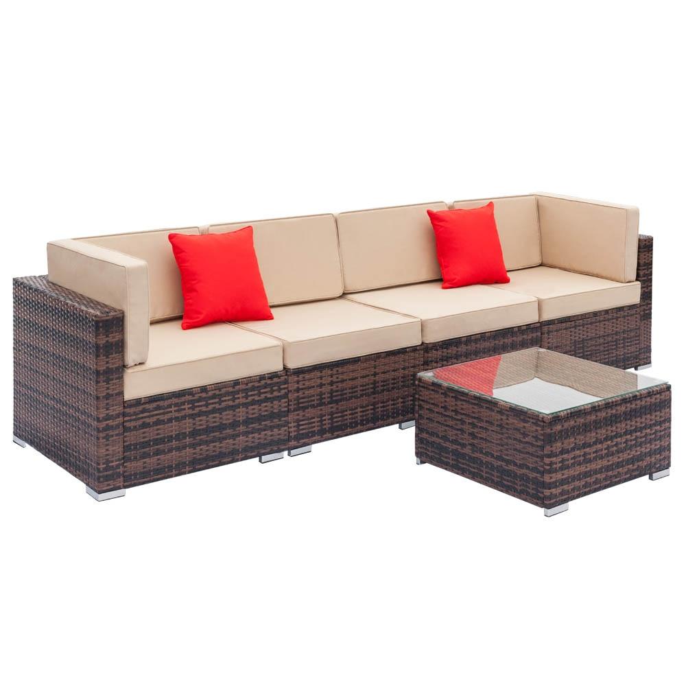 Galleria fotografica Set di divani angolari in Rattan per esterni divano da giardino medio Patio con Set di mobili imbottiti da tavolo