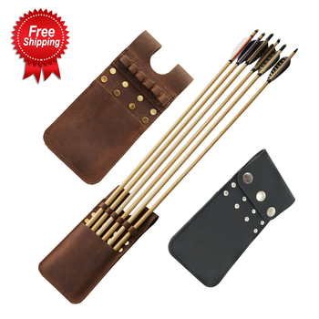 3 Color Leather Arrow Quiver Capable of Loading 6 Arrows Suitable for Recurve Bow Compound Bow for Archery Hunting Shooting cowhide leather shoulder back large capacity quiver arrow holder for compound recurve bow shooting hunting archery arrow quiver