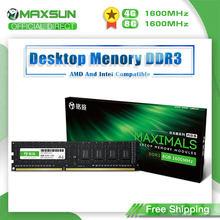 MAXSUN – mémoire de serveur d'ordinateur de bureau, modèle DDR3, capacité 4 go 8 go, fréquence d'horloge 1600MHz, tension 1.5V, broches 240Pin, Dimm, garantie à vie, pour Intel et AMD