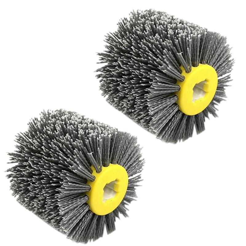 2 Pcs Nylon Abrasive Wire Dupont Drum Polishing Wheel Electric Brush for Woodworking Metalworking, P120 & P80