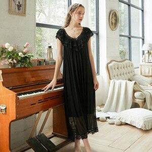Image 5 - Roseheart Women Pruple Black Sexy Sleepwear Night dress Homewear Lace Princess Nightwear Luxury Nightgown Female Gown