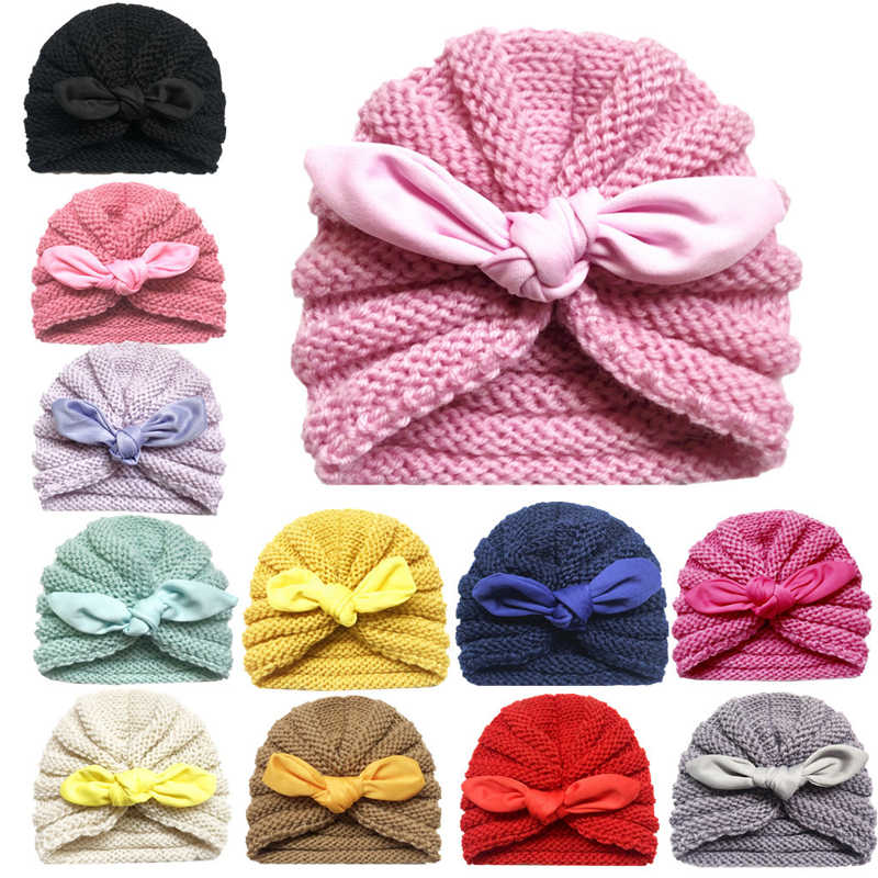 Baby Autumn Winter Big Tied Knot Hat Solid Knitting Turban Beanies Girl  Hat Kids Newborn Warm Cap Baby Girls Photograph Props