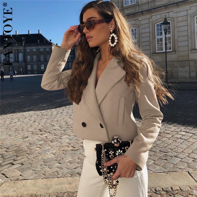 FANTOYE 2019 Autumn New Elegant Women   Jackets   Fashion Office Ladies Khaki   Jacket   Outwear Tops Loose   Basic   Street Coat Plus Size