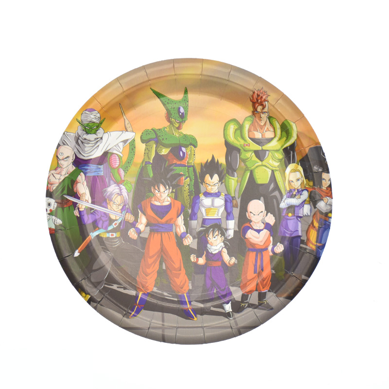 Купить с кэшбэком 20pcs/lot Dragon Ball theme disposable plates Dragon Ball theme birthday party decorations Dragon Ball paper plates