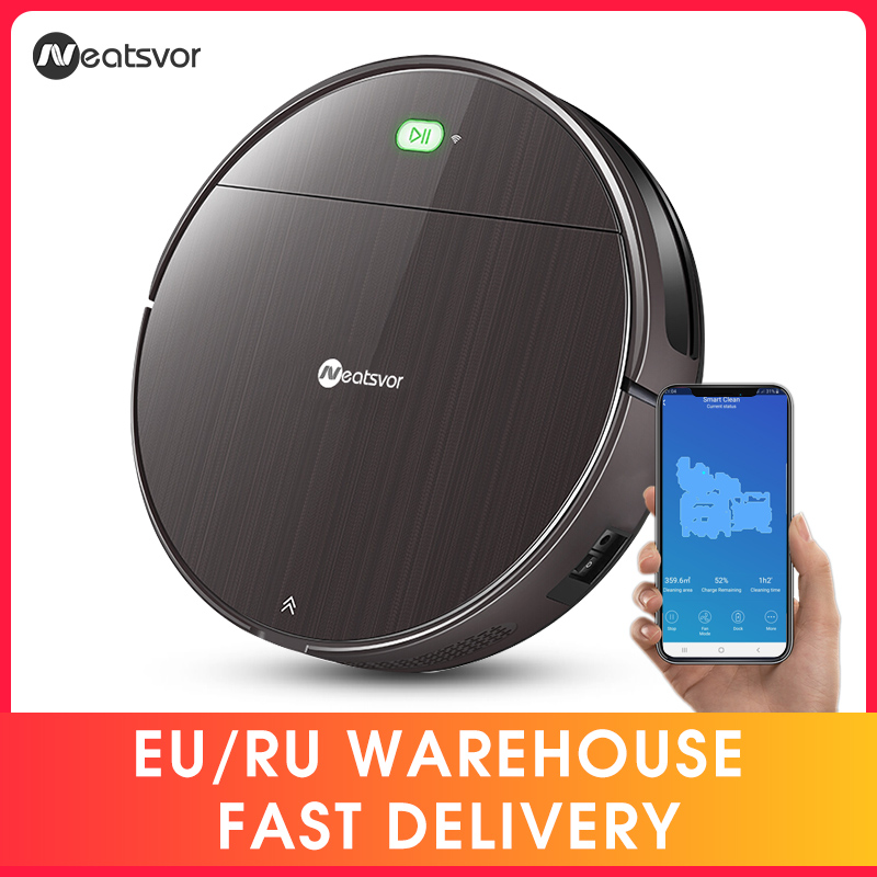 NEATSVOR V392 Brown Robot Vacuum Cleaner Sweep & Wet Mop For Floor APP Control Map navigation Planned Auto Charge Robot 1800PA(China)