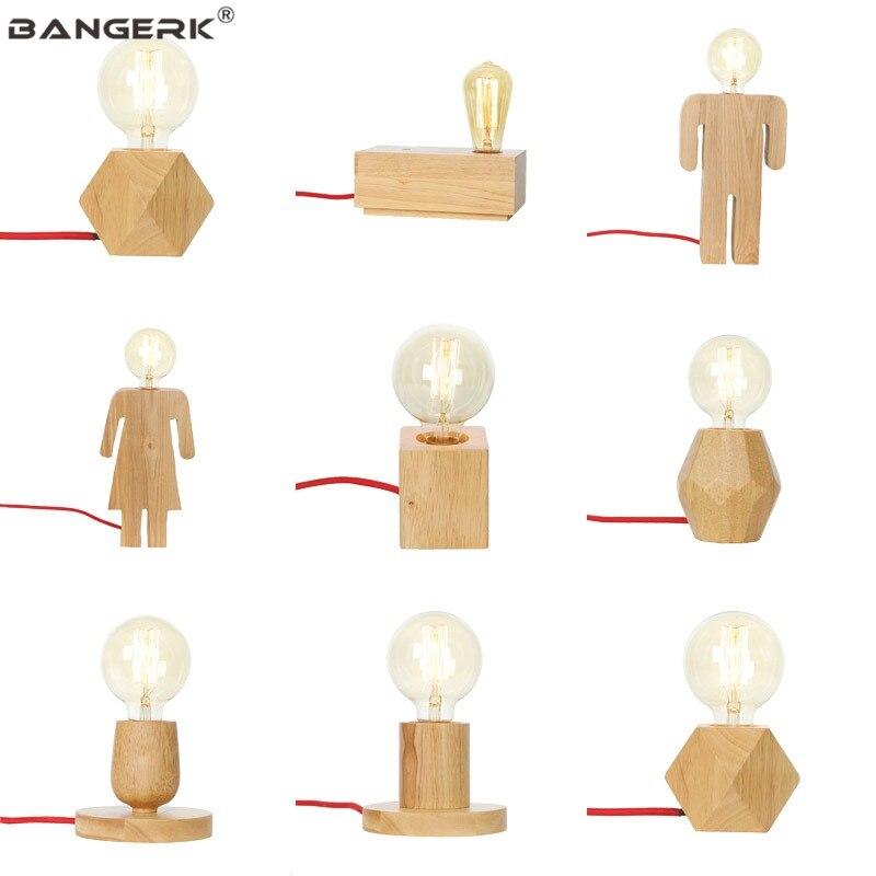 ตารางโมเดิร์นโคมไฟ E27 ฐานไม้โคมไฟตั้งโต๊ะปุ่มสวิทช์ EU ปลั๊กไฟ LED Edison สำหรับห้องนอนห้องนั่งเล่...