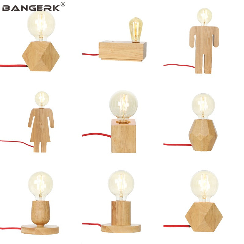 Modern Table Lamp E27 Base Wood Desk Lamps Button Switch EU Plug Edison LED Lights For Bedroom Living Room Home Decor Lighting