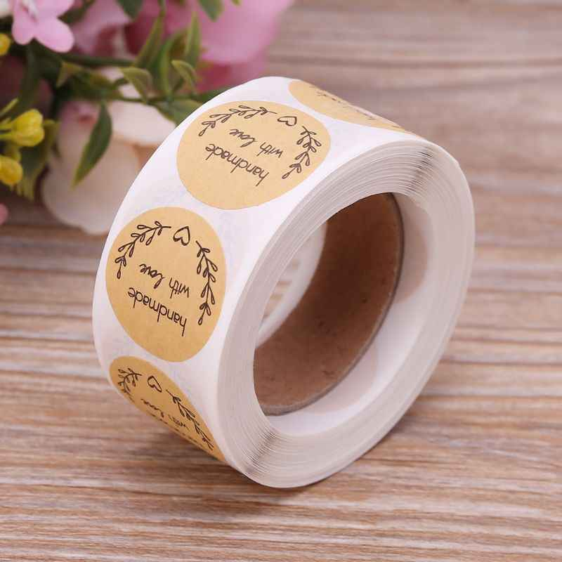 500 PCS ธรรมชาติทำด้วยมือรักคราฟท์กระดาษสติกเกอร์ฉลากกาวรอบเบเกอรี่ Scrapbooking งานแต่งงานโปรดปราน