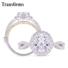 Transgems 14K White and Yellow Gold Center 2ct 7*8mm Oval F Color Moissanite Twist Engagement Ring With Accents Wedding Gifts цена в Москве и Питере