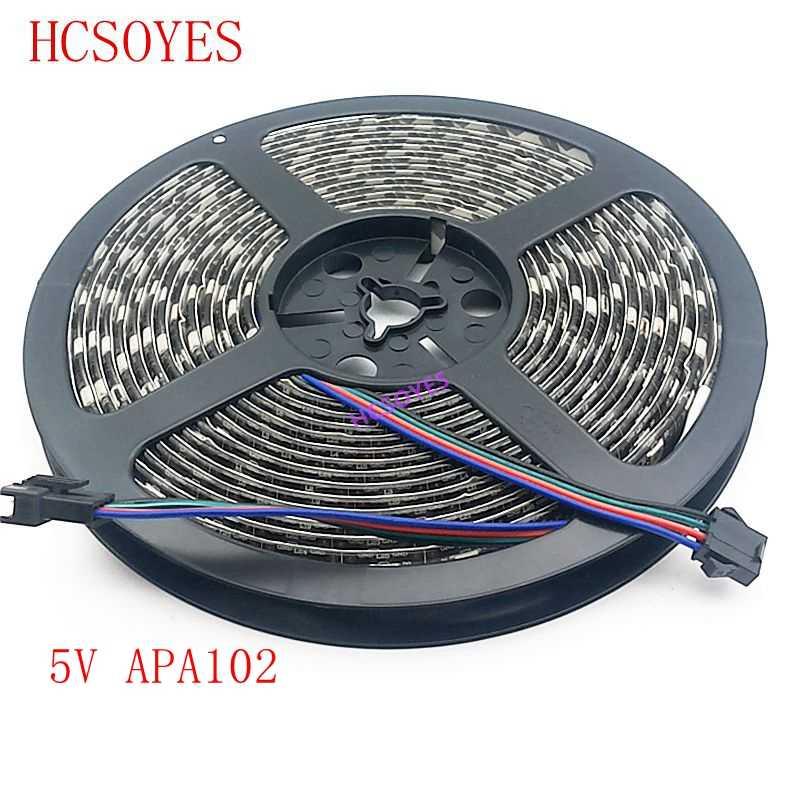 APA102 רצועת 1 m/3 m/5 m 30/60/72/96/144 נוריות /פיקסלים/m APA102 חכם led פיקסל רצועת נתונים ושעון בנפרד DC5V IP30/IP65/IP67