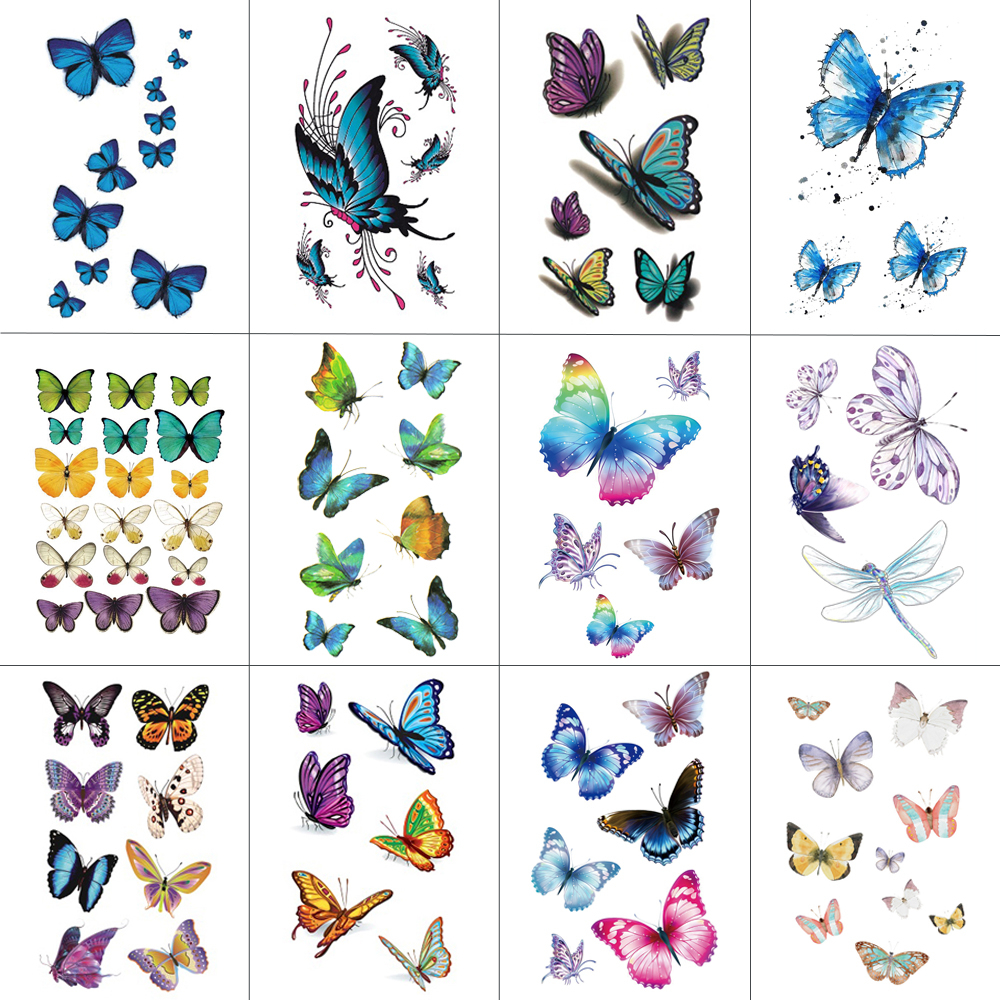 HXMAN 12 PCS/lot Butterfly Temporary Tattoo Sticker For Women Men Body Art Adults Waterproof Hand Fake Tatoo 9.8X6cm W12-03