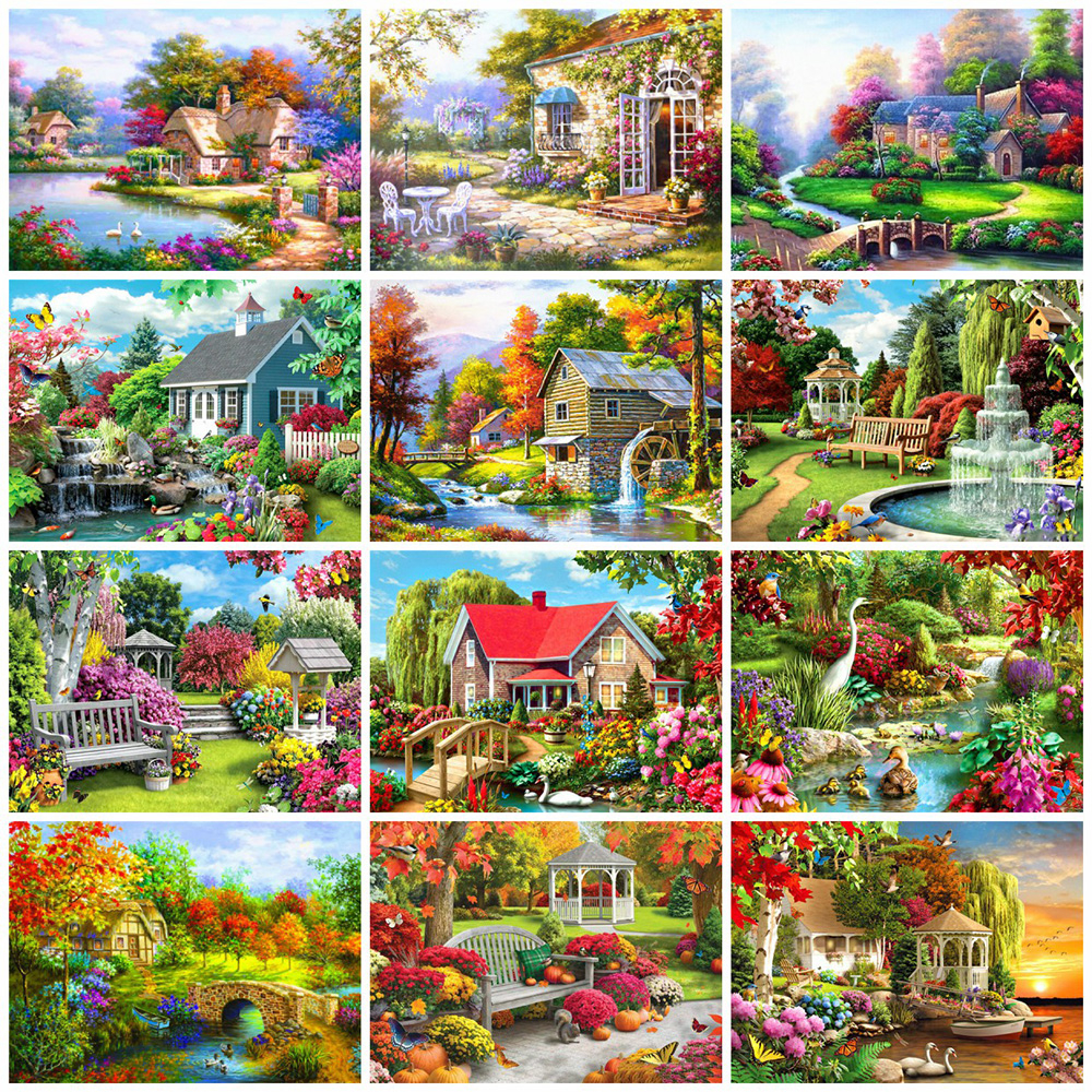 EverShine DIY Paint By Numbers House Coloring By Numbers Natural On Canvas HandPainted Wall Art Gift Home Decor
