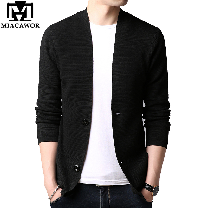 MIACAWOR Cardigan Men Solid Color Casual Knitted Sweater Male Autumn Slim Fit Sweater Coats Sueter Masculino Pull Homme Y170