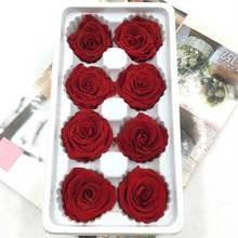 1 box High Quality Preserved Flowers Flower Immortal Rose 4CM diameter  mothers day gift Eternal Life Material