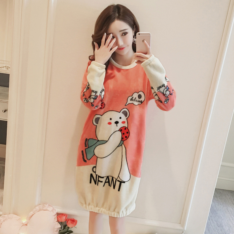 Autumn & Winter Coral Velvet Pajamas Women's Winter Nightgown Thick Flannel Korean-style Sweet Cute Homewear Set