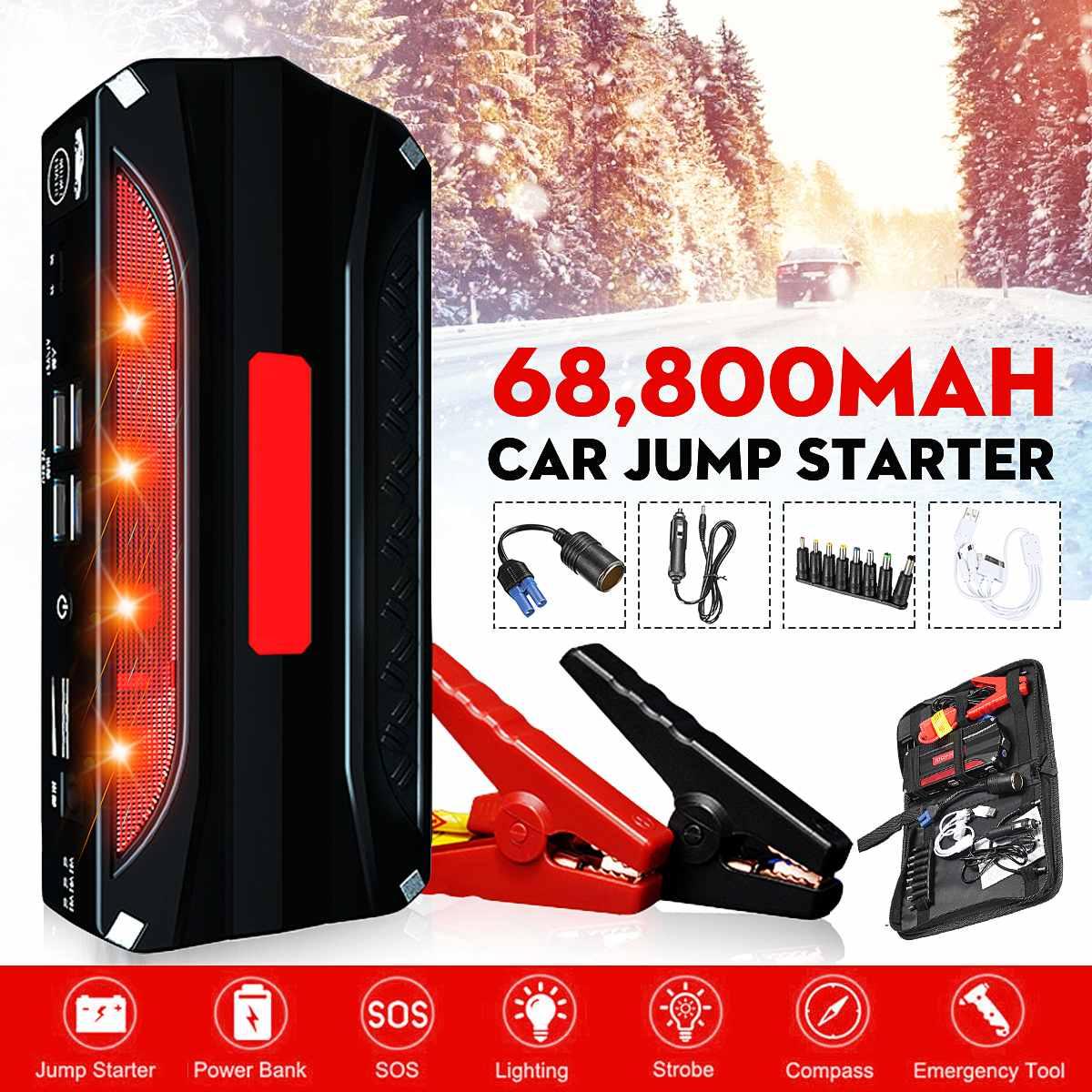 12V 69800mAh Jump Starter Engine Emergency Start Over-Current Protected Battery 4 USB Power Bank LED W/ Smart Clip