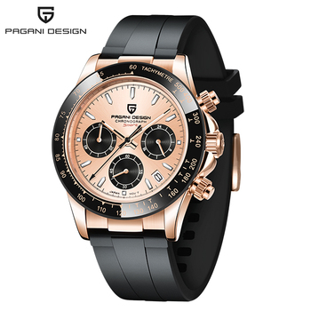 2020 New PAGANI DESIGN Luxury Brand Mens Sports Watches Waterproof Chronograph Japan VK63 Quartz Movement Watch Rubber Strap - Gold