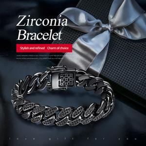 Image 2 - Cdyle pulseira masculina preta zircônia, corrente masculina, punk, hip hop, 18cm, marca superior/20.5cm/22cm