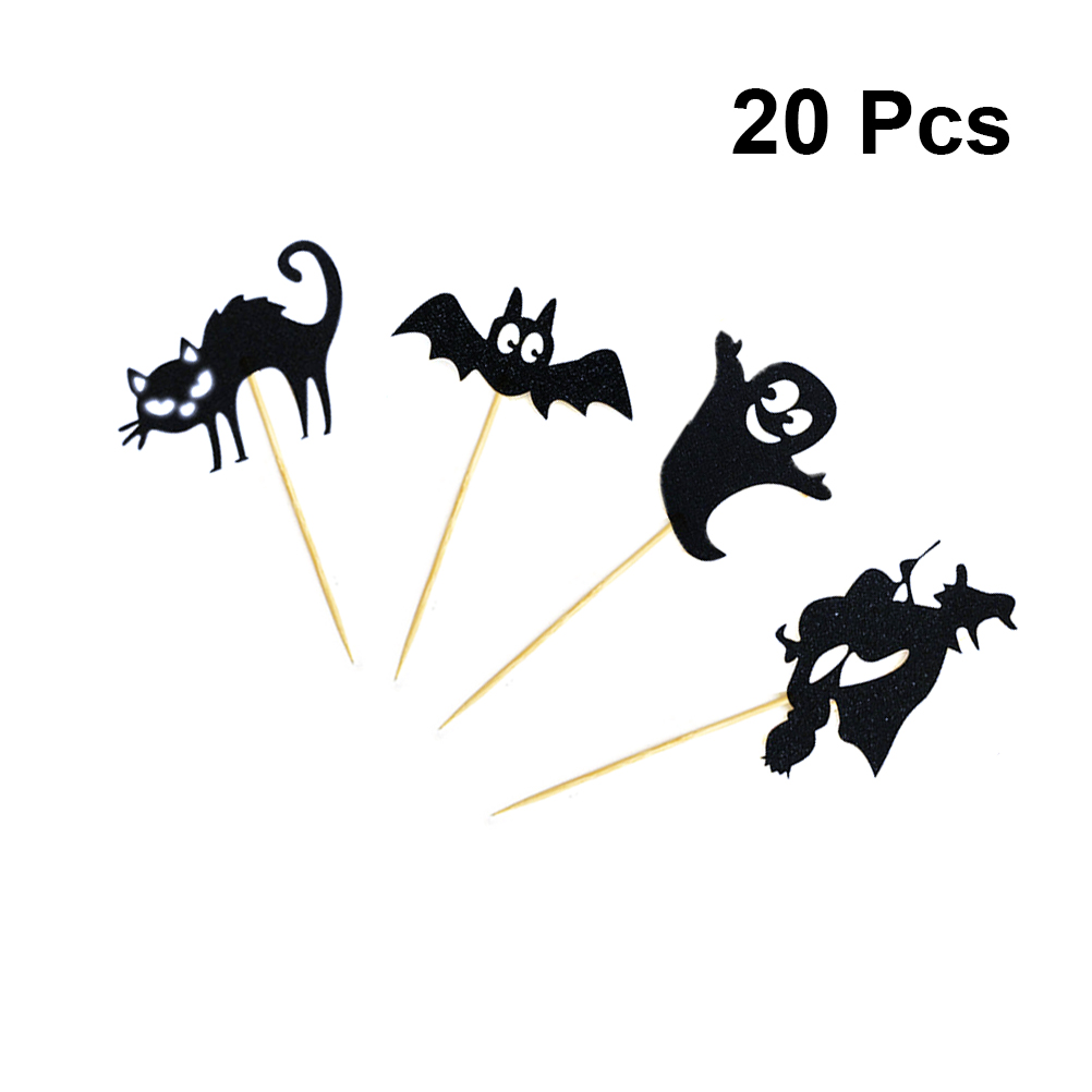 20pcs Witch Bat <font><b>Black</b></font> <font><b>Cat</b></font> Vampire Pattern <font><b>Cake</b></font> <font><b>Topper</b></font> Funny <font><b>Cake</b></font> Picks Paper Cupcake <font><b>Toppers</b></font> Decor Party Supplies Halloween image