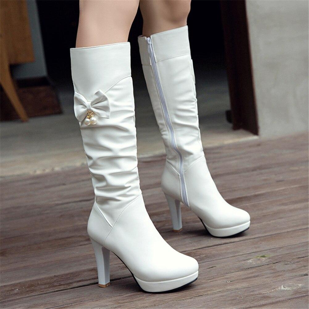 SARAIRIS 2019 grande taille 32-43 ajouter fourrure chaude bottes d'hiver femmes chaussures femme Chunky talons hauts mi-mollet bottes femme