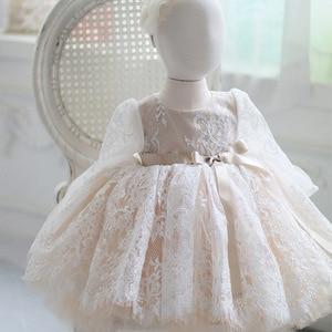 Image 5 - לבן נצנצים ילדה שמלת Baptismal שמלה לתינוק אלגנטי המפלגה בנות שמלות גדול bow טוטו נסיכת חתונה תינוקת שמלה