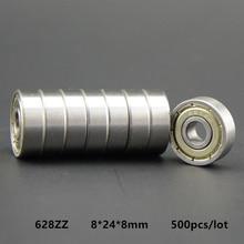 500pcs/lot  high quality  628ZZ miniature radial ball bearing 628 628Z  628-2Z shielded deep groove ball bearings 8x24x8mm