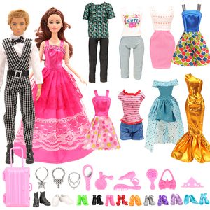 Image 5 - Fashion 43 Items/set Dollhouse Furniture Toys = wardrobe + 42 Dolls accessories Clothes for barbie Ken Game Christmas Kids Toys