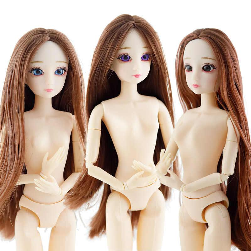 30 см BJD кукла 1/6 20 суставов 3D глаза длинный парик женская голова с пластиковым обнаженным телом модные куклы для девочек игрушки DIY Рождественский подарок,кукла лол  куклы игрушки глаза для кукол секс кукла