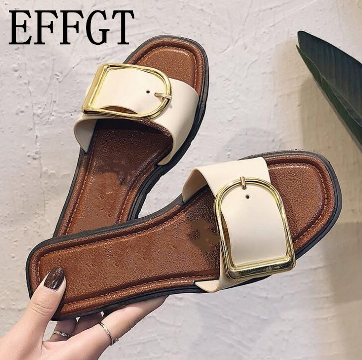 EFFGT 2018 New fashion women Slippers Summer slipper PU open-toe Ladies Flat Sandals Female Beach Flip Flops women shoes slipper
