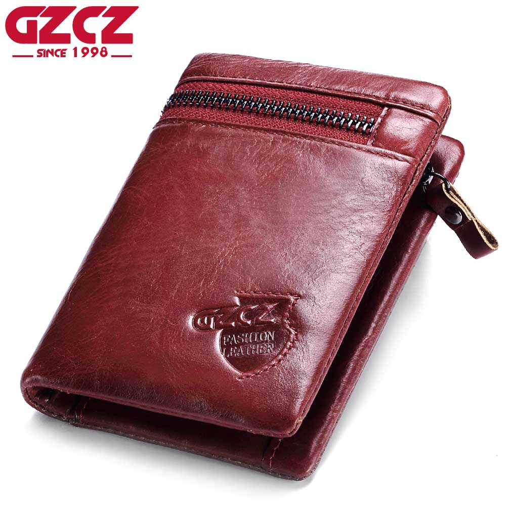 GZCZ Genuine Leather Women Wallet Fashion Lady Vertical Wallet Women Leather Short Wallet Coin Purses Casual Women Wallets