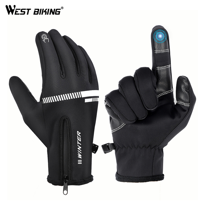 WEST BIKING Cycling Gloves Winter Fleece Thermal MTB Bike GlovesTouch Screen Outdoor Camping Hiking Motorcycle Bicycle Gloves