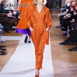 Женский атласный комбинезон TWOTWINSTYLE, Осенний комбинезон оверсайз с отложным воротником, длинными рукавами, высокой талией и шнуровкой, 2020